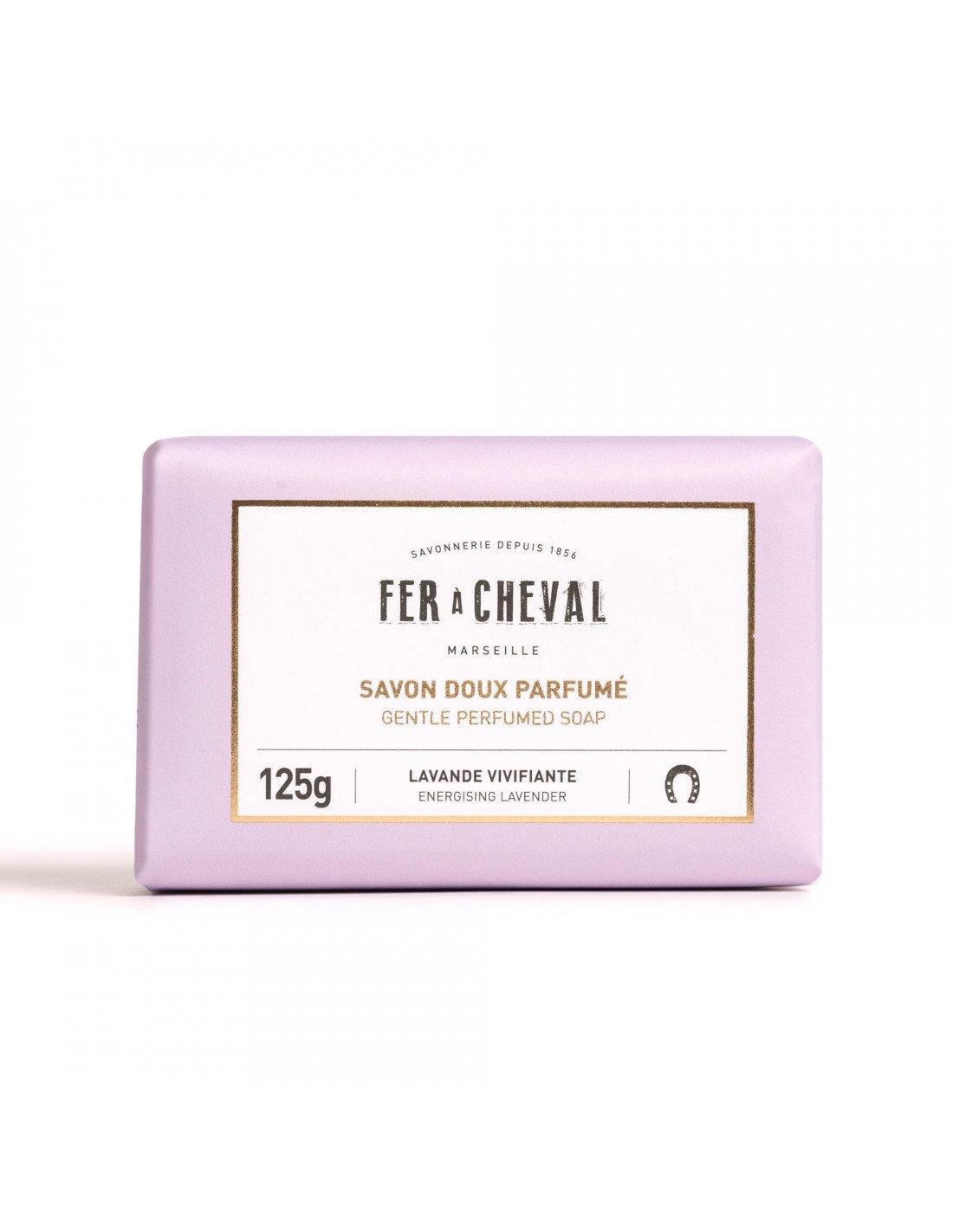Savon parfum extra doux surgras lavande vivifiante 125g for Fer a cheval savon de marseille